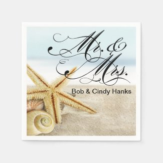 Sandy Beach Starfish Seashells Mr. & Mrs. Disposable Napkin