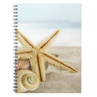 Sandy Beach Starfish Seashells Notebook