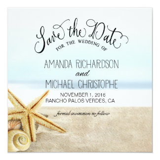 Sandy Beach Starfish Seashells Save the Date Personalized Announcement