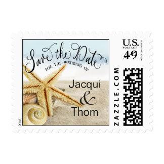 Sandy Beach Starfish Seashells Save the Date Postage