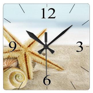 Sandy Beach Starfish Seashells Square Wall Clock