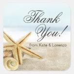 Sandy Beach Starfish Seashells Thank You Square Sticker