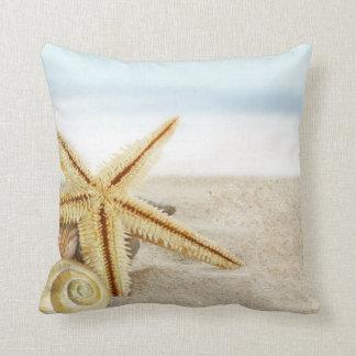 Sandy Beach Starfish Seashells Throw Pillow