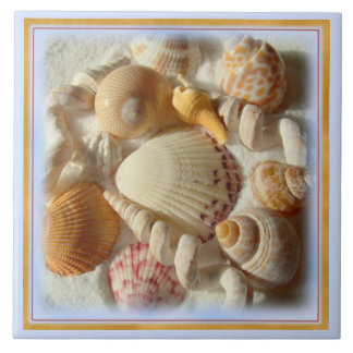 Sandy Beach Tropical Seashells Ceramic Tile