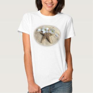 Sandy Beach with Plumeria Starfish & Sand Dollars T-Shirt