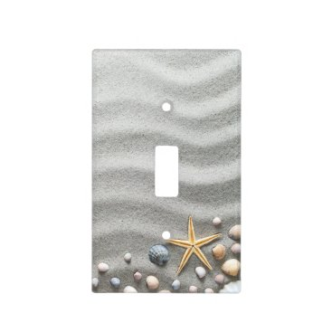 Beach Themed Sandy Beach With Shells And Starfish Light Switch Cover