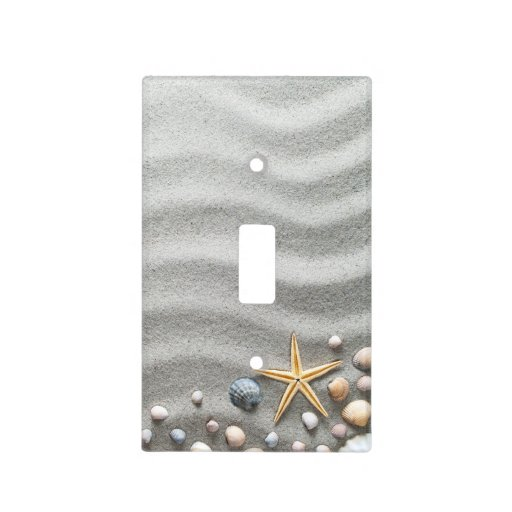 Sandy Beach With Shells And Starfish Light Switch Cover