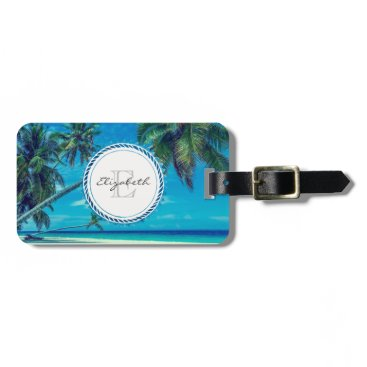 Beach Themed Sandy Beach with Tropical Palm Trees Monogram Luggage Tag