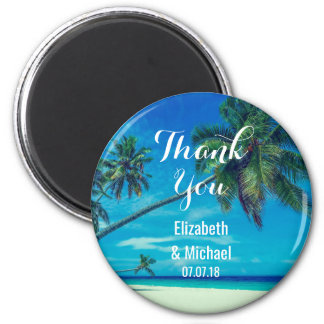 Sandy Beach with Tropical Palms Wedding Thanks Magnet