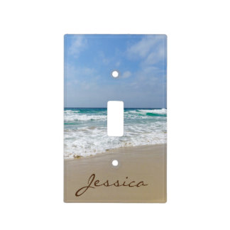 Sandy Beach with Turquoise Blue Sea Name Light Switch Cover