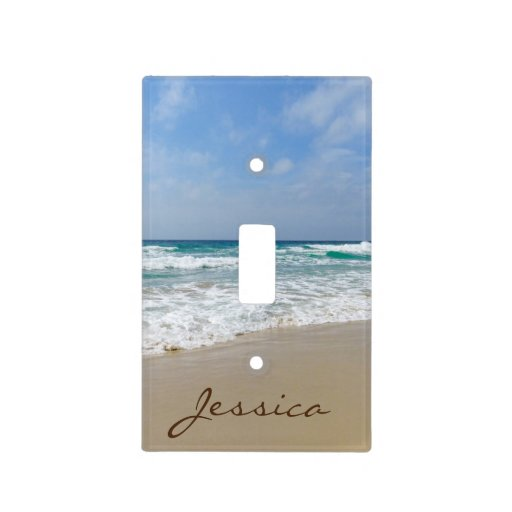 Sandy Beach With Turquoise Blue Sea Name Light Switch