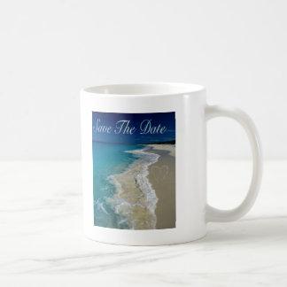 Sandy Beaches Save the Date Classic White Coffee Mug