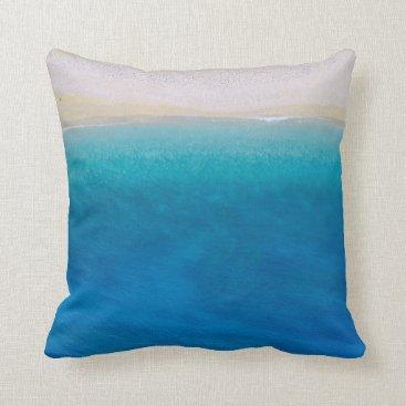 Beach Themed Sandy Blue Beach Theme Throw Pillow