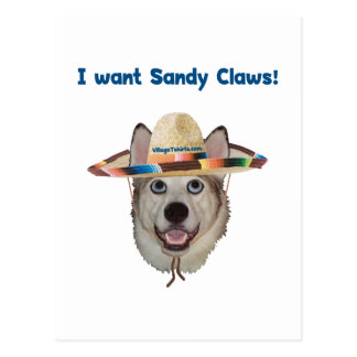 Sandy Claws Beach Dog Postcard