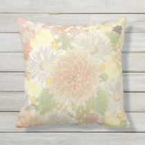 Sandy Coral Spring Flower Garden outdoor pillow