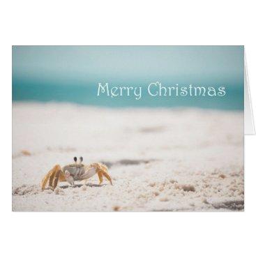 Beach Themed Sandy Crab Christmas Card
