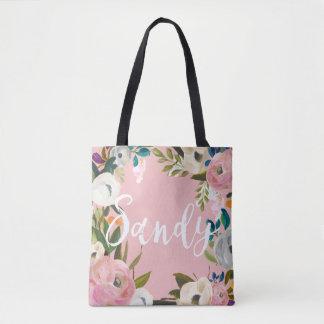 Sandy Custom Brushed Floral Wedding Party Pink Tote Bag