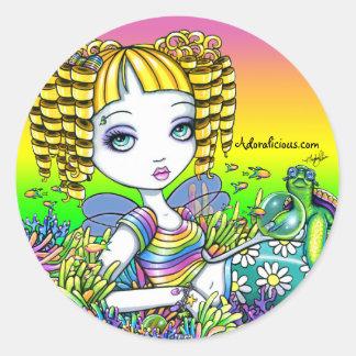 """Sandy"" Cute Rainbow Fairy Mermaid Art Stickers"