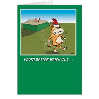 Sandy divertida agarra navidad del gato tarjeta de felicitación