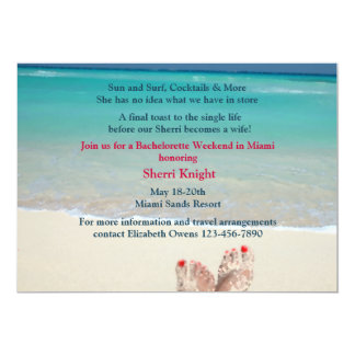 "Sandy Feet Bachelorette Party Invitation 5"" X 7"" Invitation Card"