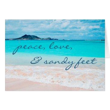 """Beach Themed """"Sandy feet"""" blue beach photo blank inside card"""