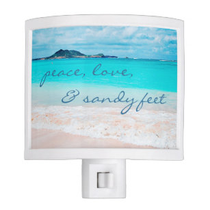 Beach quotes night lights zazzle sandy feet quote aqua ocean sandy beach photo night light m4hsunfo