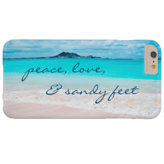 """Sandy Feet"" Quote Blue Ocean & Sandy Beach Photo Barely There iPhone 6 Plus Case"