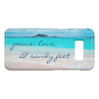 """Sandy Feet"" Quote Blue Ocean & Sandy Beach Photo Case-Mate Samsung Galaxy S8 Case"
