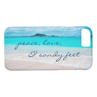 """Sandy Feet"" Quote Blue Ocean & Sandy Beach Photo iPhone 8/7 Case"
