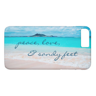 """Sandy Feet"" Quote Blue Ocean & Sandy Beach Photo iPhone 8 Plus/7 Plus Case"
