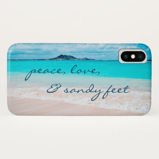 """Sandy Feet"" Quote Blue Ocean & Sandy Beach Photo iPhone X Case"
