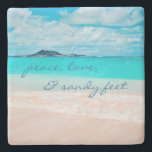 """""""Sandy Feet"""" Quote Blue Ocean &amp; Sandy Beach Photo Stone Coaster<br><div class=""""desc"""">""""Peace, love &amp; sandy feet."""" Relax with your favorite beverage on this stunning pastel-colored photo stone coaster, all while you remind yourself of the fresh salt smell of the ocean air. Exhale and explore the solitude of an empty Hawaiian beach. Makes a great housewarming gift! You can easily personalize this...</div>"""