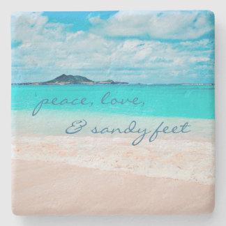 """Sandy Feet"" Quote Blue Ocean & Sandy Beach Photo Stone Coaster"