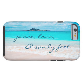 """Sandy Feet"" Quote Blue Ocean & Sandy Beach Photo Tough iPhone 6 Case"