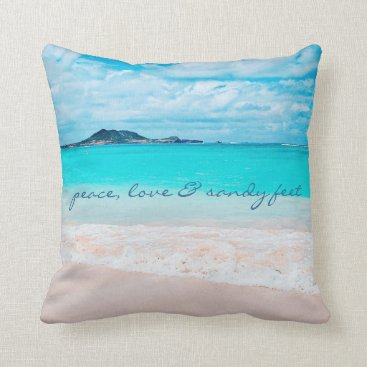 "Beach Themed ""Sandy feet"" quote turquoise beach photo pillow"