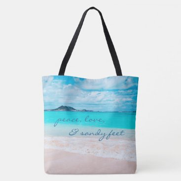 """Beach Themed """"Sandy feet"""" quote turquoise beach photo tote bag"""