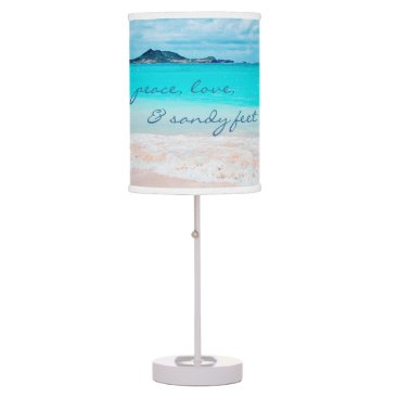 "Beach Themed ""Sandy feet"" quote turquoise beach table lamp"