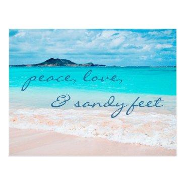 "Beach Themed ""Sandy feet"" quote turquoise sky sandy beach photo Postcard"