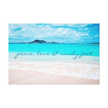 """Beach Themed """"Sandy feet"""" turquoise beach photo art canvas"""