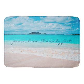 """Sandy feet"" turquoise beach photography bath mat"