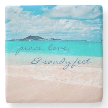 "Beach Themed ""Sandy feet"" turquoise beach photography stone coa Stone Coaster"