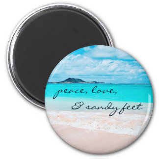 """Sandy feet"" turquoise ocean and sandy beach photo Magnet"