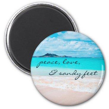 """Sandy feet"" turquoise sandy beach photo magnet"