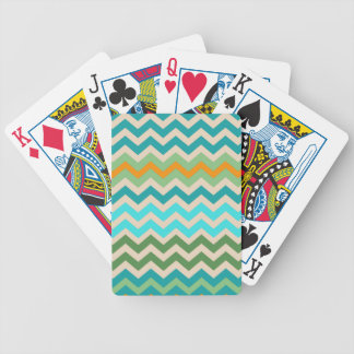 Sandy Green and Teal Chevron Mix Bicycle Playing Cards