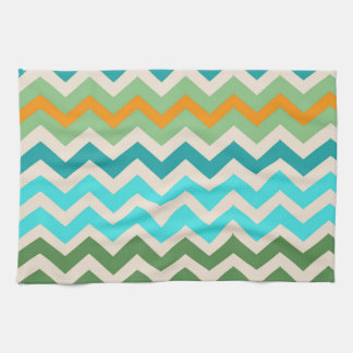 Sandy Green and Teal Chevron Mix Hand Towel