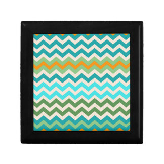 Sandy Green and Teal Chevron Mix Jewelry Box