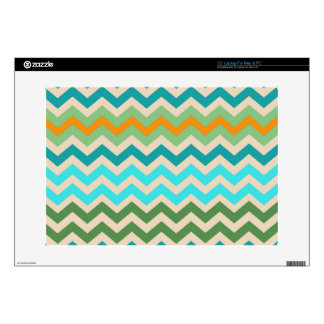 "Sandy Green and Teal Chevron Mix Skins For 15"" Laptops"