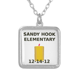 SANDY HOOK ELEMENTARY CANDLE SQUARE PENDANT NECKLACE