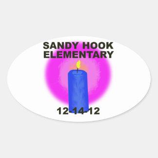 SANDY HOOK ELEMENTARY, candle Oval Sticker