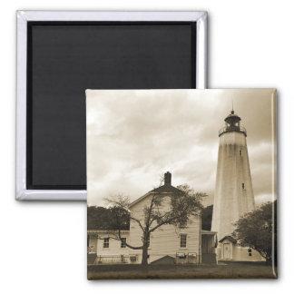 Sandy Hook Lighthouse 2 Inch Square Magnet